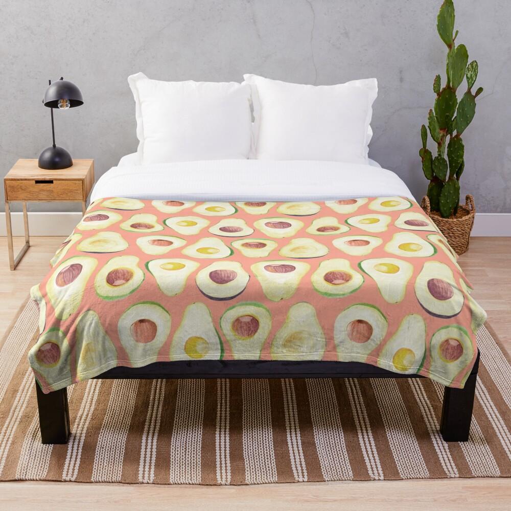 Watercolor Avocado pattern in pink  Throw Blanket