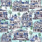 Blue Watercolor Victorian Houses  by TigaTiga