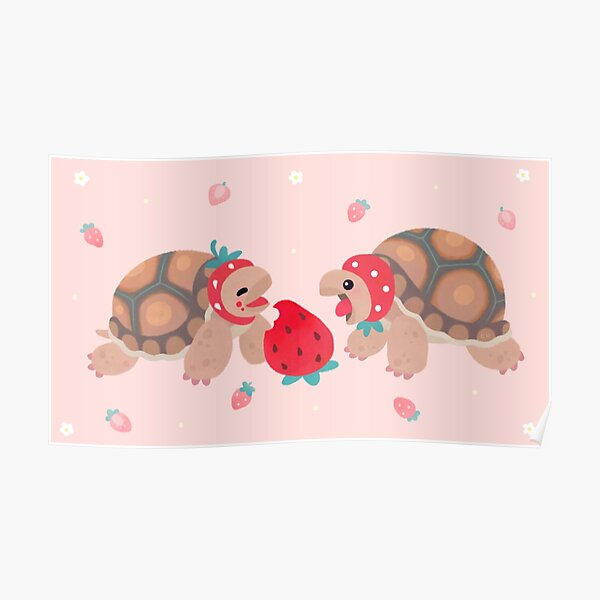 Tortoises love strawberries Poster