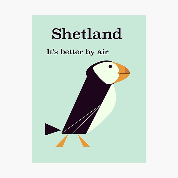 Shetland Puffin Vintage travel poster. Photographic Print