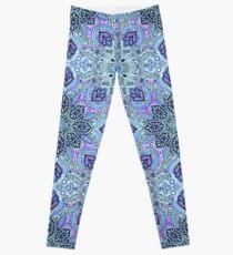 Navy Blue, Mint and Purple Boho Pattern Leggings