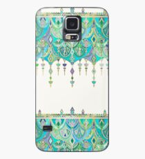 Art Deco Double Drop in Jade and Aquamarine on Cream Case/Skin for Samsung Galaxy