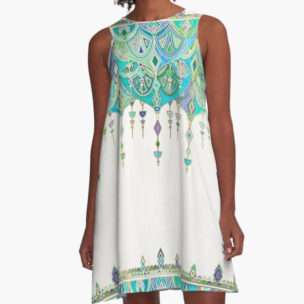 Art Deco Double Drop in Jade and Aquamarine on Cream A-Line Dress