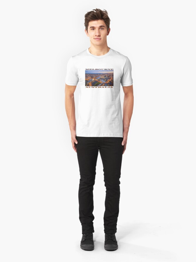 Alternate view of Stunning Melbourne (widescreen poster on white) Slim Fit T-Shirt