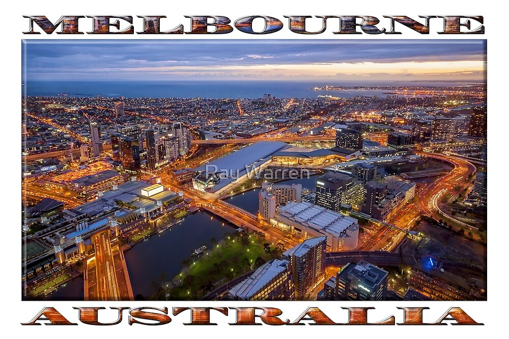 Stunning Melbourne (widescreen poster on white) by Ray Warren