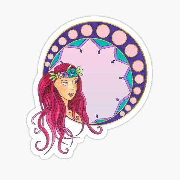 Pink Lady - Art Nouveau style Sticker
