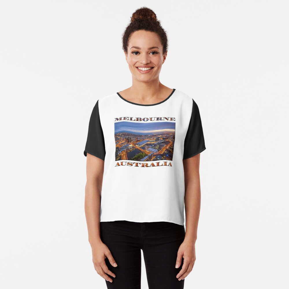 Stunning Melbourne (poster on white) Chiffon Top