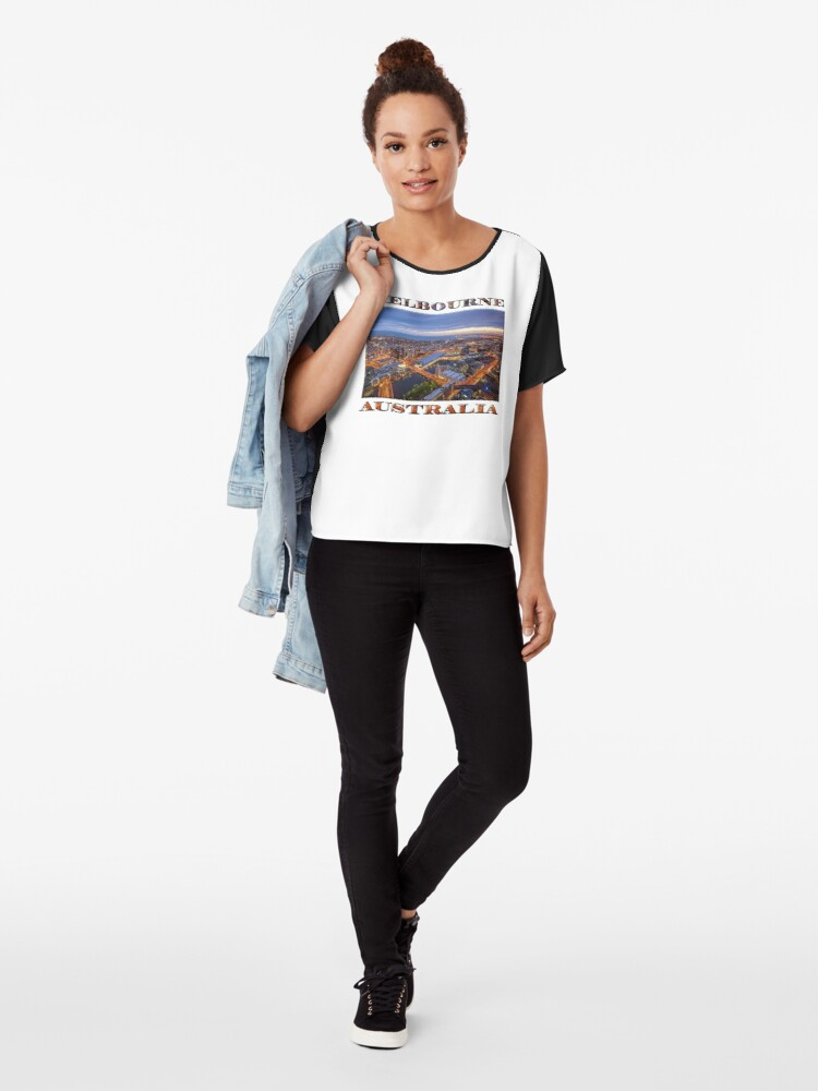 Alternate view of Stunning Melbourne (poster on white) Chiffon Top