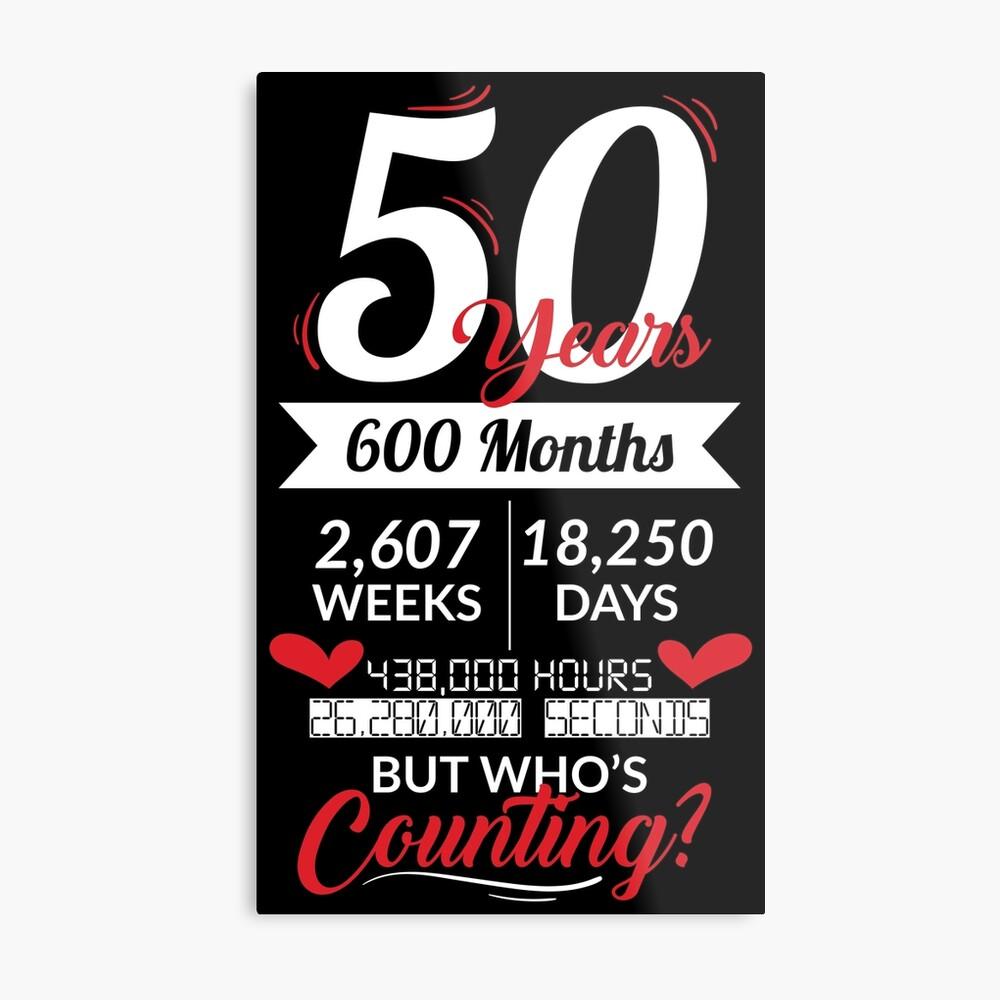 50 Years 600 Months - Wedding Anniversary Gift Metallbild