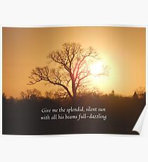 English landscape sunrise with Walt Whitman quote Poster
