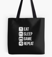 eat sleep game repeat Tote Bag