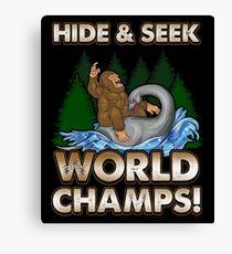 Bigfoot Riding Nessie - Sasquatch Loch Ness Monster T-shirt Canvas Print