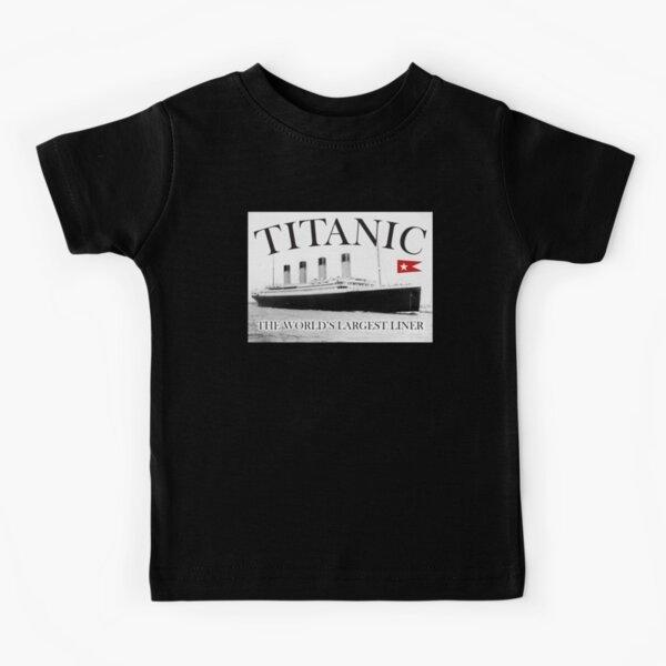 TITANIC, RMS Titanic, Cruise, Ship, Disaster. On Black. Kids T-Shirt