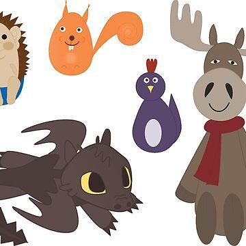 Toy animals sticker sheet by Lenka24