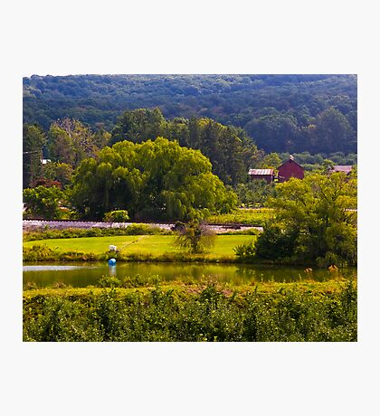 Pond, by the Tracks, near the Farm, below the Mountain. Photographic Print