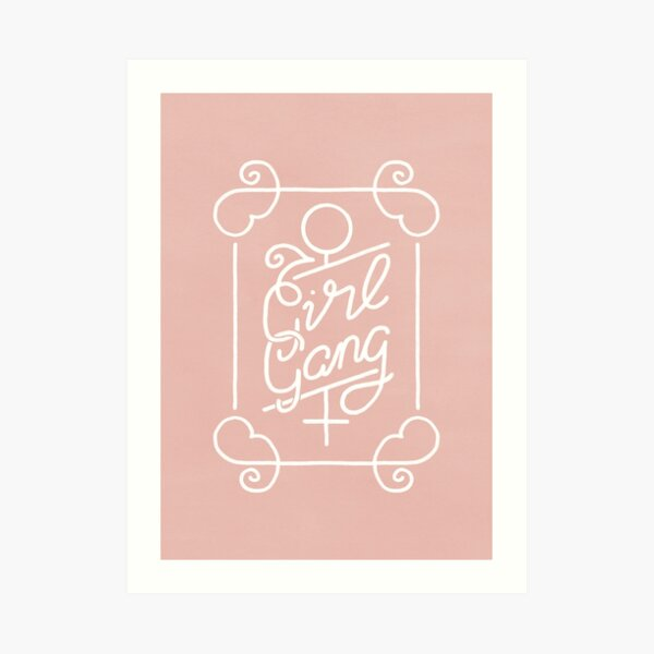 Feminist Girl Gang Pink Ornate Art Nouveau Calligraphy Art Print