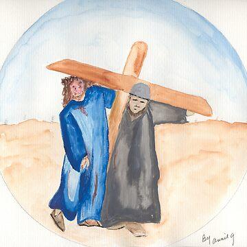 Jesus & Simon of Cyrene by AnneG