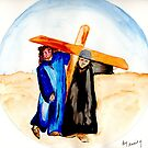 Jesus & Simon of Cyrene (2) by Anne Gitto