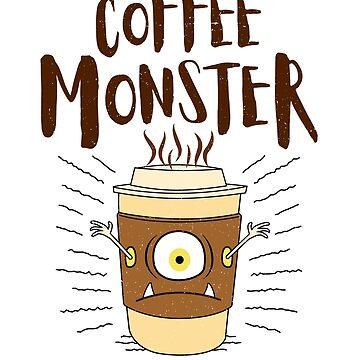 Coffee Monster Tee - Cute Coffee Cup Monster by propellerhead