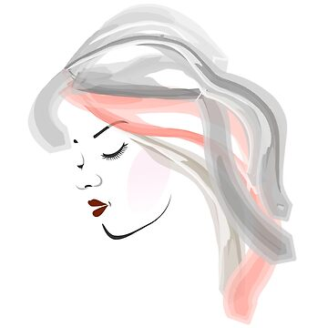 Watercolor girl portrait- Side view of a young womans face by amelislam