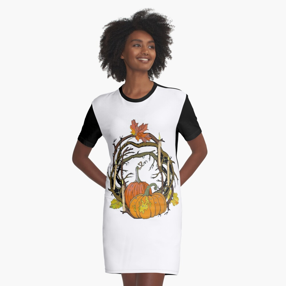 Halloween round gothic branches wreath with pumpkins, candles and leaves. Graphic T-Shirt Dress