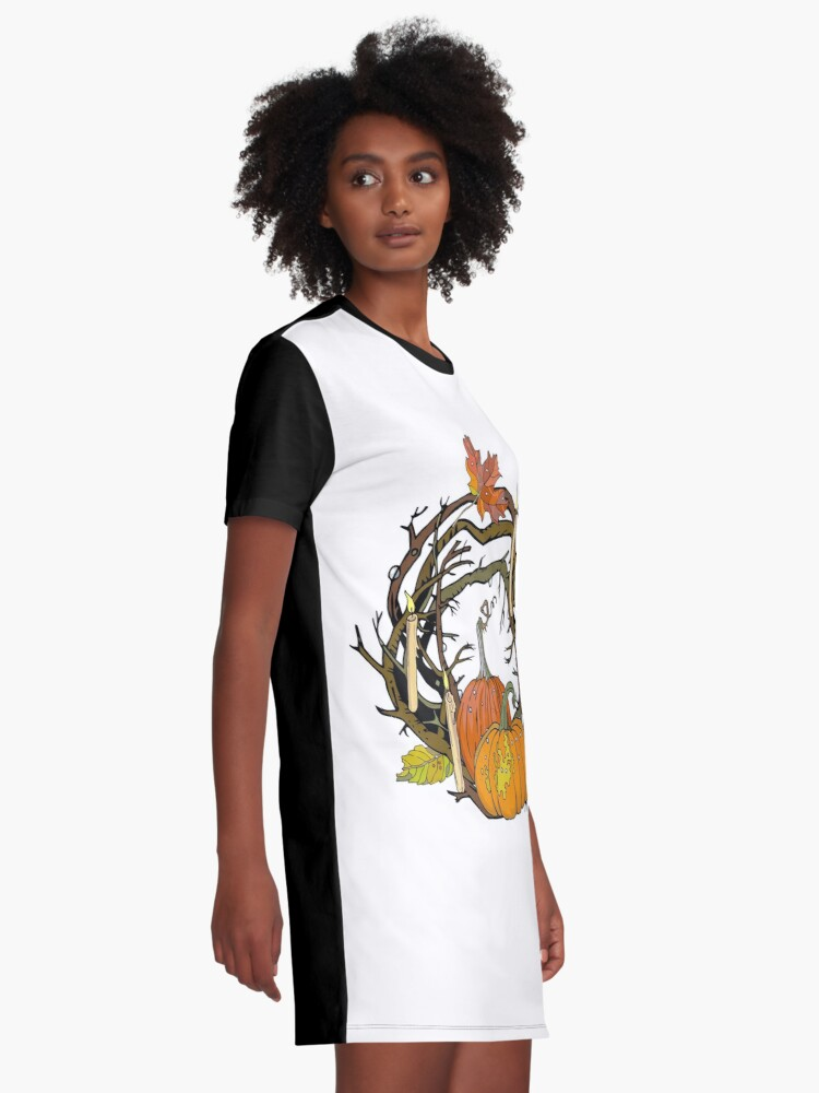 Alternate view of Halloween round gothic branches wreath with pumpkins, candles and leaves. Graphic T-Shirt Dress