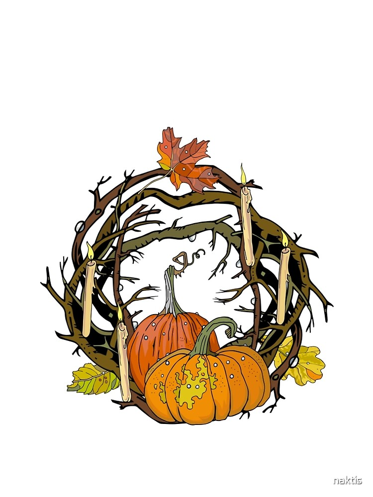 Halloween round gothic branches wreath with pumpkins, candles and leaves. by naktis