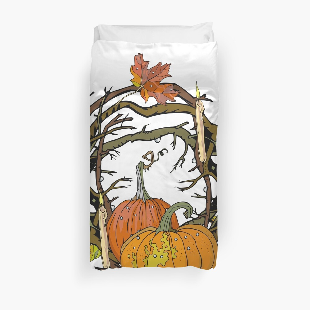 Halloween round gothic branches wreath with pumpkins, candles and leaves. Duvet Cover