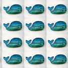 Blue and Green Wood Whale by Teresa Schultz