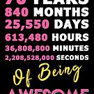 70th Birthday Shirt | Birthday Countdown | Of Being Awesome by wantneedlove