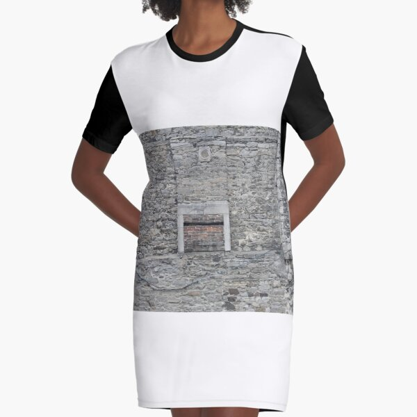 #Wall and #Window, old, #stone, #architecture, house, building, door, ancient, brick, wood, texture Graphic T-Shirt Dress
