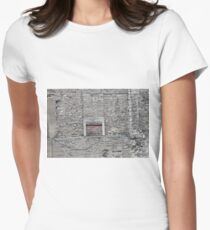 Wall and Window, old, stone, architecture, house, building, door, ancient, brick, wood, texture Women's Fitted T-Shirt