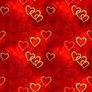 Red background with hearts. by starchim01