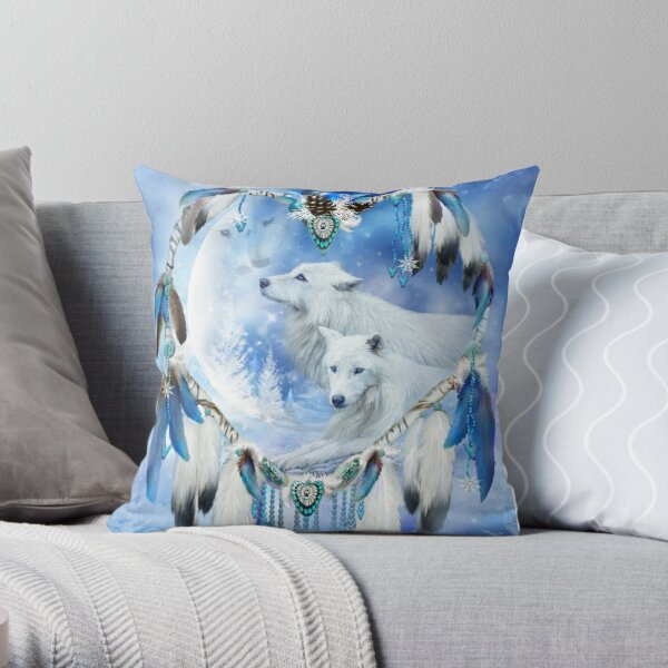 Holiday Wolves Throw Pillow