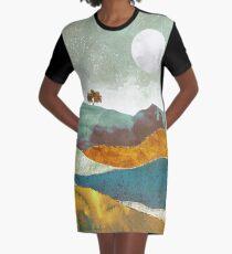 Nacht Nebel T-Shirt Kleid
