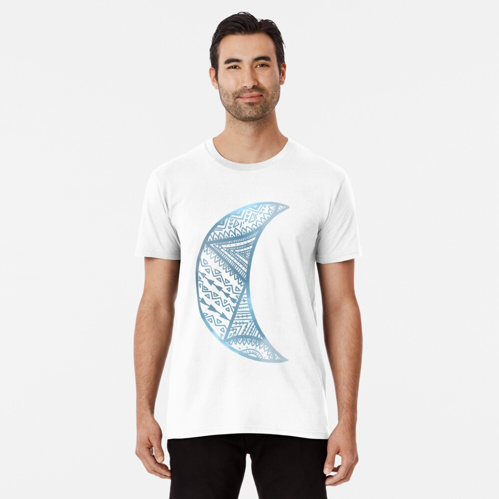 mandala luna azul Camiseta premium