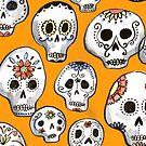 « crânes de sucre d'encre sur orange » par Michelle doran