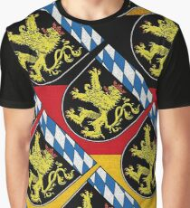 Bavarian Lions with Blue and white lozenges pattern of Bavaria  Graphic T-Shirt