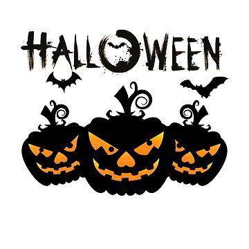 Creepy Halloween Black Pumpkins with Black Bats by eboggles