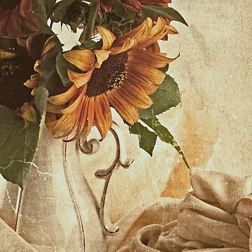 Orange Sunflowers - Found In The Attic by SandraFoster