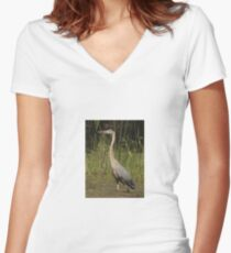 Chippewa Flowage Great Blue Heron Women's Fitted V-Neck T-Shirt