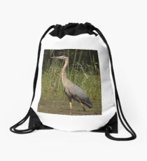 Chippewa Flowage Great Blue Heron Drawstring Bag