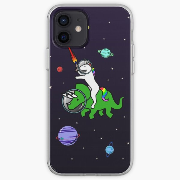 Unicorn Riding Triceratops In Space iPhone Soft Case