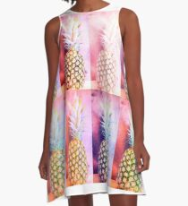 Colorful Pineapple Collage A-Line Dress