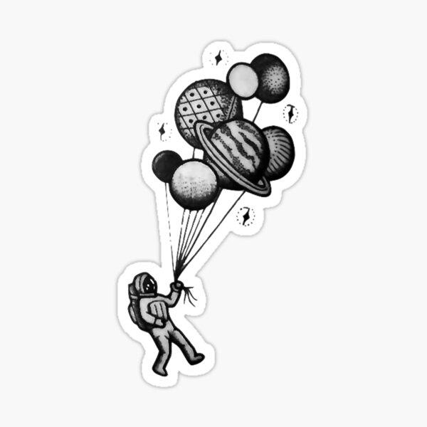 Planet Balloons Pull Astronaut Sticker