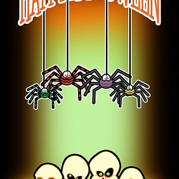 Spiders and Skulls Halloween Card by SquareDog