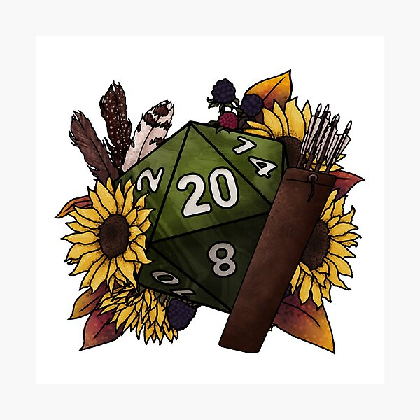 Ranger Class D20 - Tabletop Gaming Dice Photographic Print