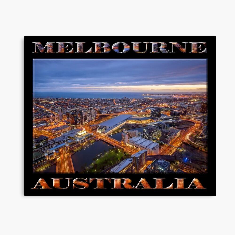 Stunning Melbourne (poster on black) Canvas Print