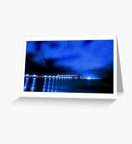 Kwinana Grain Jetty At Night  Greeting Card