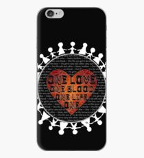 one love, one blood, one life on heart on hollow earth with white figures holding hands iPhone Case